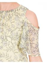Cold Shoulder Printed Chiffon Top Soft Yellow - Gallery Image 3