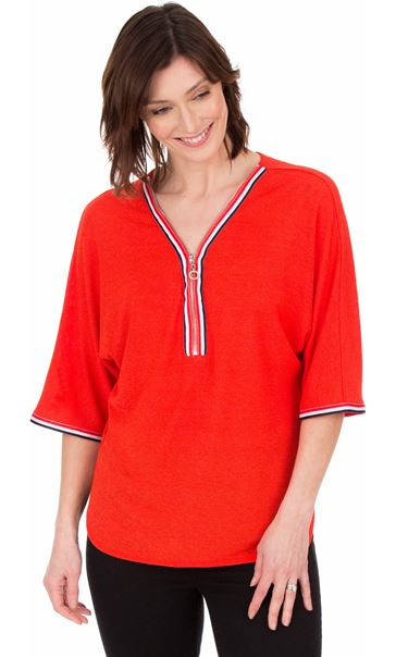 Braid Trim Loose Fit Knit Top Ruby - Gallery Image 1