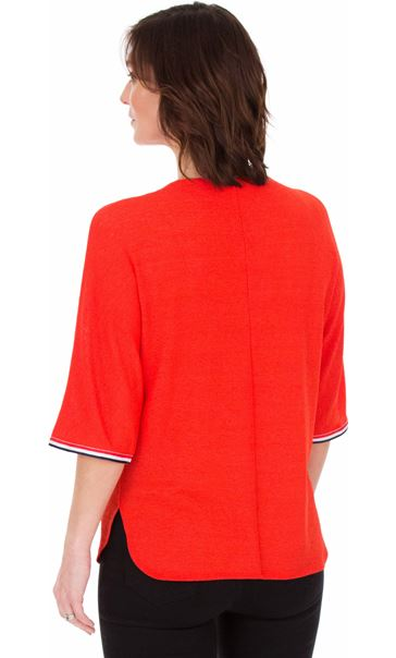 Braid Trim Loose Fit Knit Top Ruby - Gallery Image 2