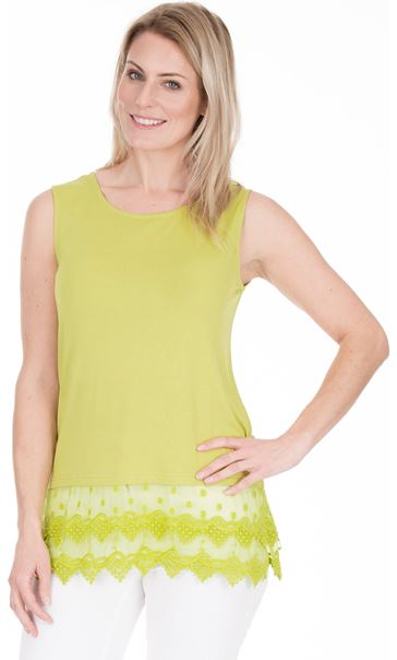 Lace Trim Sleeveless Jersey Top Lime