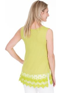 Lace Trim Sleeveless Top - Lime