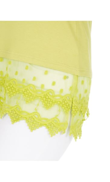 Lace Trim Sleeveless Jersey Top Green - Gallery Image 3