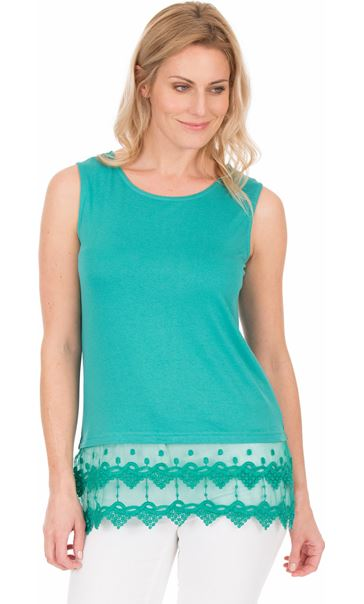 Lace Trim Sleeveless Jersey Top Green