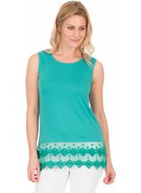 Lace Trim Sleeveless Jersey Top Green - Gallery Image 1