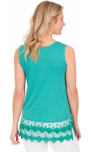 Lace Trim Sleeveless Top - Green