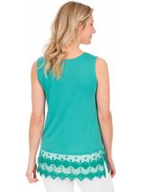 Lace Trim Sleeveless Jersey Top Green - Gallery Image 2