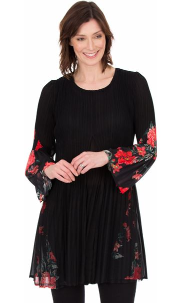 Pleated Layered Flute Sleeve Printed Tunic Black