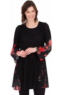 Pleated Layered Flute Sleeve Printed Tunic