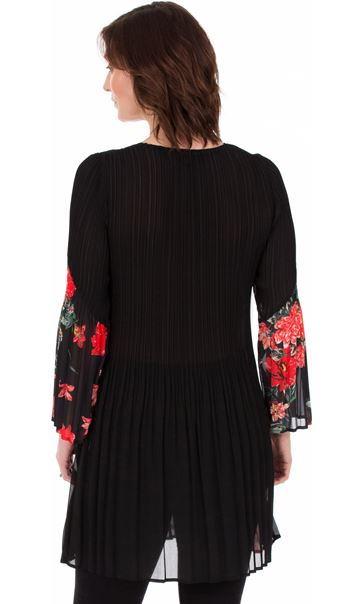Pleated Layered Flute Sleeve Printed Tunic Black - Gallery Image 2