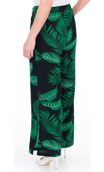 Leaf Printed Wide Leg Trousers Black/Teal - Gallery Image 2