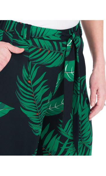 Leaf Printed Wide Leg Trousers Black/Teal - Gallery Image 3