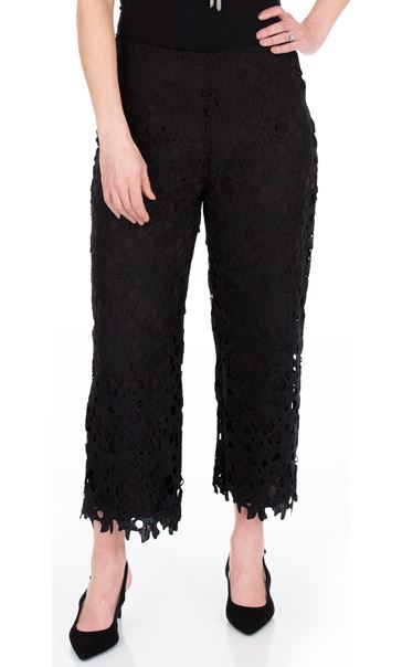 Crochet Lace Pull On Wide Leg Cropped Trousers Black