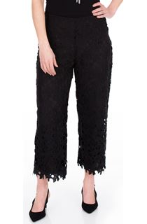 Crochet Lace Pull On Cropped Wide Leg Trousers - Black