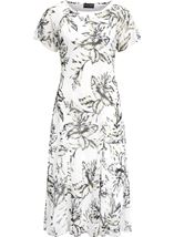 Anna Rose Bias Cut Chiffon Midi Dress Ivory/Black/Lemon - Gallery Image 1