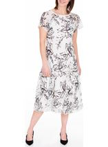 Anna Rose Bias Cut Chiffon Midi Dress Ivory/Black/Lemon - Gallery Image 2