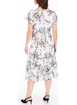 Anna Rose Bias Cut Chiffon Midi Dress Ivory/Black/Lemon - Gallery Image 3