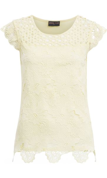 Anna Rose Lace Front Top Soft Yellow