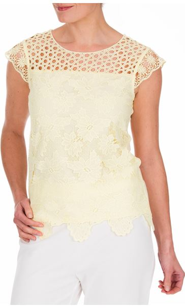 Anna Rose Lace Front Top Soft Yellow - Gallery Image 2