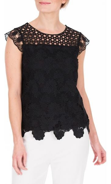 Anna Rose Lace Front Top Black - Gallery Image 2