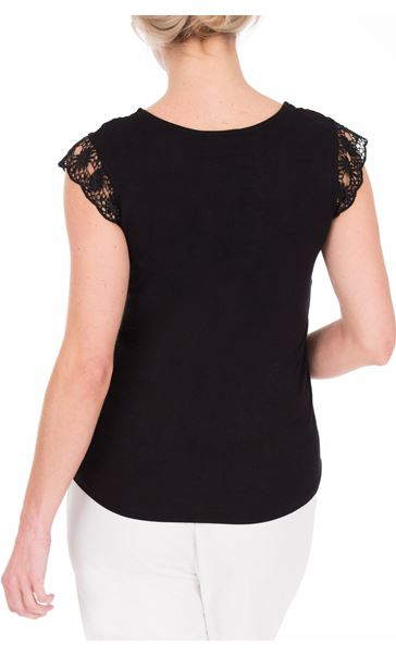 Anna Rose Lace Front Top Black - Gallery Image 3