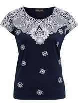 Anna Rose Short Sleeve Puffa Print Top Navy/White - Gallery Image 1