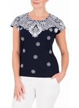 Anna Rose Short Sleeve Puffa Print Top Navy/White - Gallery Image 2