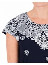 Anna Rose Short Sleeve Puffa Print Top Navy/White - Gallery Image 4