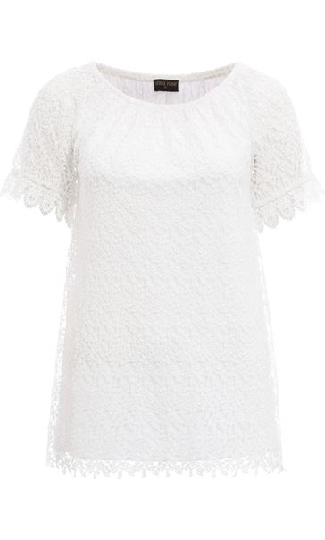 Anna Rose Short Sleeve Crochet Top Ivory