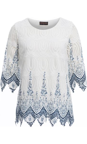 Anna Rose Printed Lace Top White/Blue