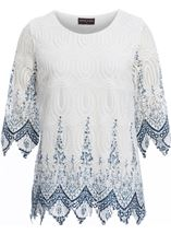 Anna Rose Printed Lace Top White/Blue - Gallery Image 1
