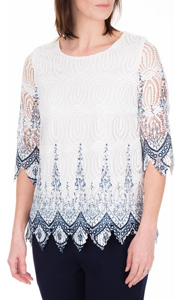 Anna Rose Printed Lace Top White/Blue - Gallery Image 2