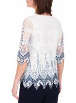 Anna Rose Printed Lace Top White/Blue - Gallery Image 3