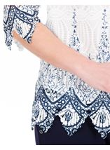 Anna Rose Printed Lace Top White/Blue - Gallery Image 4