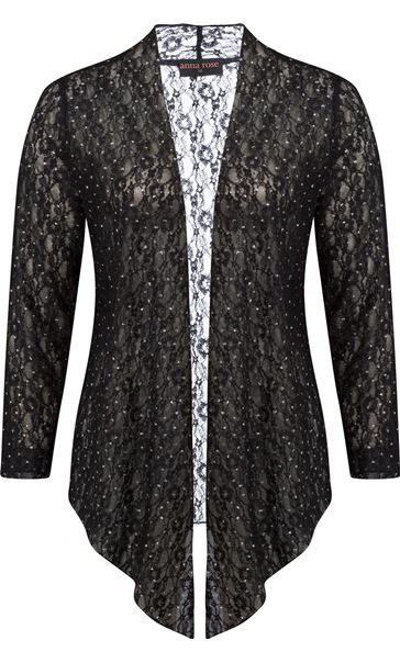 Anna Rose Glitter And Lace Cover Up Black