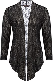 Anna Rose Glitter And Lace Cover Up - Black