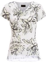 Anna Rose Cowl Neck Print Top Ivory/Black/Lemon - Gallery Image 1