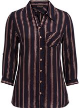 Anna Rose Striped Shimmer Blouse Navy/Rose Gold - Gallery Image 1