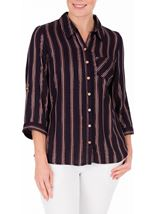 Anna Rose Striped Shimmer Blouse Navy/Rose Gold - Gallery Image 2