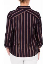 Anna Rose Striped Shimmer Blouse Navy/Rose Gold - Gallery Image 3
