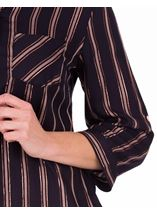 Anna Rose Striped Shimmer Blouse Navy/Rose Gold - Gallery Image 4