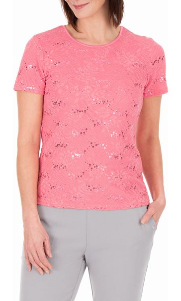 Anna Rose Textured Short Sleeve Top Pink - Gallery Image 2