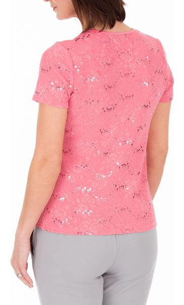 Anna Rose Textured Short Sleeve Top Pink - Gallery Image 3