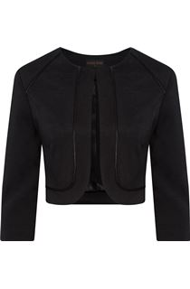 Anna Rose Cropped Open Jacket - Black