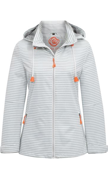Anna Rose Sporty Striped Coat Ivory/Grey