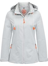 Anna Rose Sporty Striped Coat Ivory/Grey - Gallery Image 1