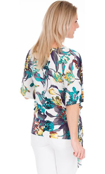 Printed Round Neck Stretch Top
