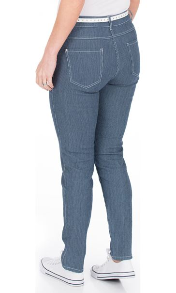 Striped Belted Slim Leg Jeans Blue - Gallery Image 2