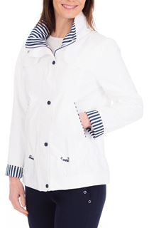 Anna Rose Stripe Trim Lightweight Coat