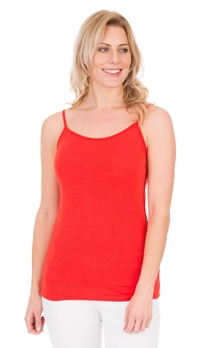 Adjustable Strappy Jersey Cami Top - Red