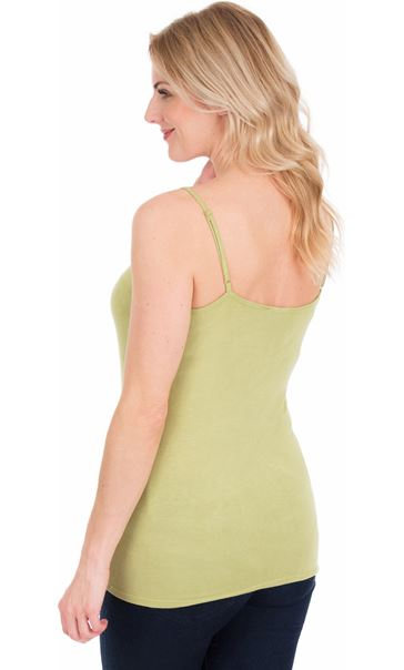Adjustable Strappy Jersey Cami Top - Green